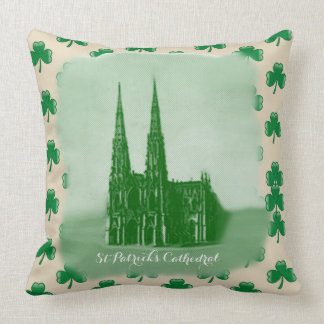 ST PATRICS CATHEDRAL CUSHION IRISH SHAMROCK PILLOW