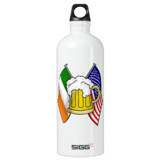 ST PATRICS DAY IRISH AMERICAN FLAG + BEER  BOTTLE