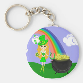 St Pat's Day Blonde Girl Leprechaun with Rainbow Basic Round Button Key Ring