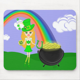 St Pat's Day Blonde Girl Leprechaun with Rainbow Mouse Pad