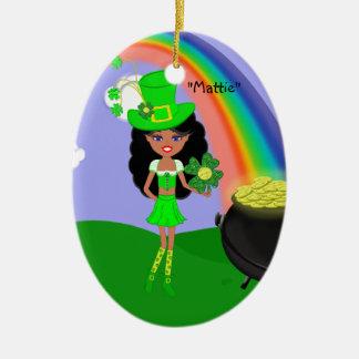 St Pat's Day Brunette Girl Leprechaun with Rainbow Ceramic Oval Decoration