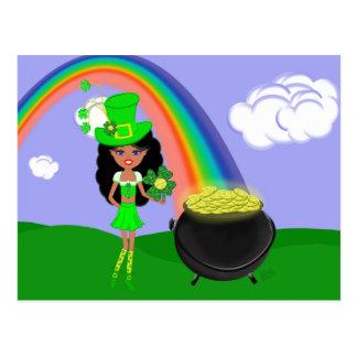 St Pat's Day Brunette Girl Leprechaun with Rainbow Postcard