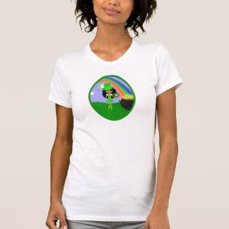 St Pat's Day Brunette Girl Leprechaun with Rainbow T-shirt