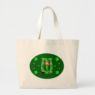 St Pat's Day Redhead Girl Leprechaun Tote Bags