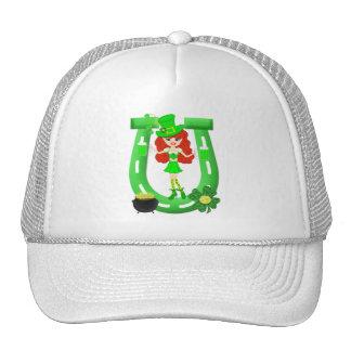 St Pat's Day Redhead Girl Leprechaun Mesh Hats