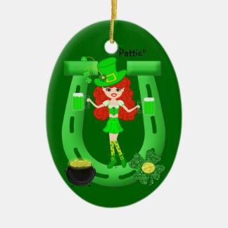 St Pat's Day Redhead Girl Leprechaun Christmas Tree Ornaments