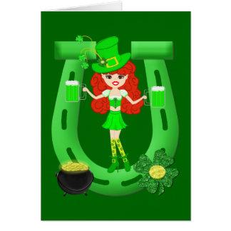 St Pat's Day Redhead Girl Leprechaun Greeting Card