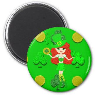St Pat's Day Redhead Girl Leprechaun Refrigerator Magnet