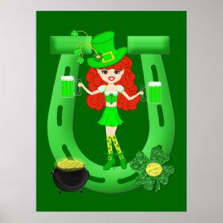 St Pat's Day Redhead Girl Leprechaun Print