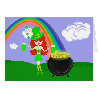St Pat's Day Redhead Girl Leprechaun with Rainbow Card