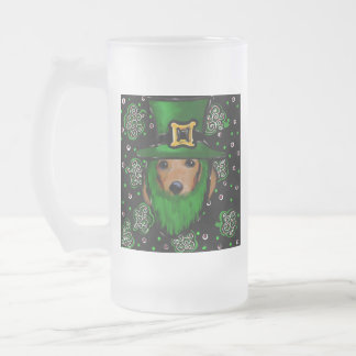 St. Patty Doxie Art Design Frosted Glass Beer Mug