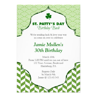 St Patty s Day Birthday Bash Festive Gingham Personalized Invitations