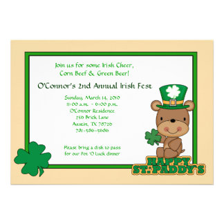 St Patty s Day Party Saint Patrick s Day 5x7 Bear Personalized Invitations