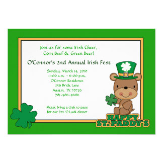 St Patty s Day Party Saint Patrick s Day 5x7 Bear Personalized Invite