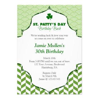 St. Patty's Day Birthday Bash Festive Gingham Personalized Invitations