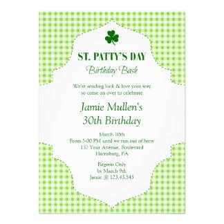 St. Patty's Day Birthday Bash Festive Gingham Custom Invites