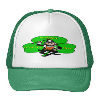 St Patty's Day Leprechaun Shamrock Trucker Hat