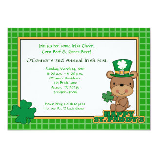 St. Patty's Day Party Saint Patrick's Day 5x7 Bear 13 Cm X 18 Cm Invitation Card
