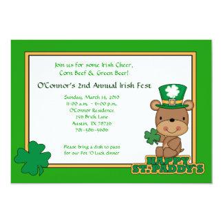 St. Patty's Day Party Saint Patrick's Day 5x7 Bear Card