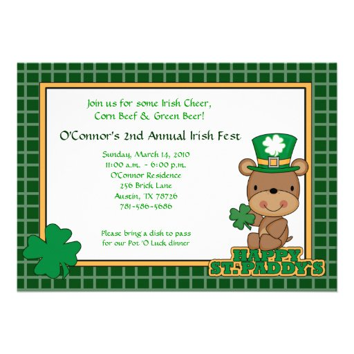 St. Patty's Day Party Saint Patrick's Day 5x7 Bear Custom Announcements