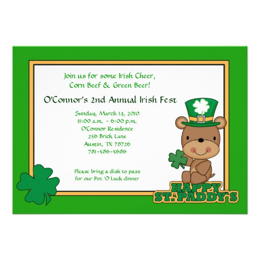 St. Patty's Day Party Saint Patrick's Day 5x7 Bear Personalized Invite
