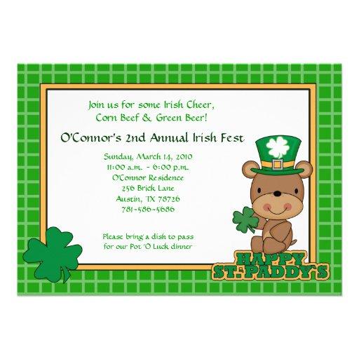 St. Patty's Day Party Saint Patrick's Day 5x7 Bear Custom Invite