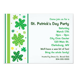 St. Patty's Day Shamrocks 13 Cm X 18 Cm Invitation Card