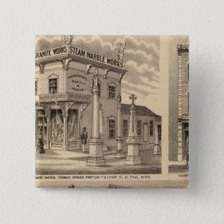 St. Paul, Minneapolis, Minnesota Lithograph Map 15 Cm Square Badge