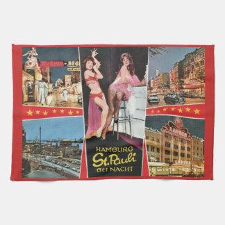 St. Pauli by Night, Hamburg, Germany Vintage Tea Towel