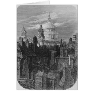 St. Paul's Cathedral and the slums Greeting Card