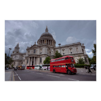 St Paul's Cathedral London England and red bus Poster