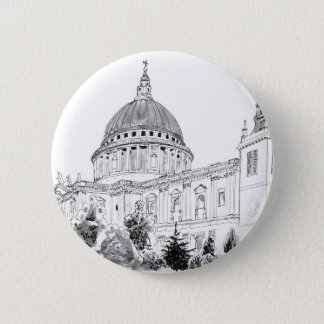 St Paul's Cathedral pen and ink drawing 6 Cm Round Badge