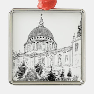 St Paul's Cathedral pen and ink drawing Metal Ornament