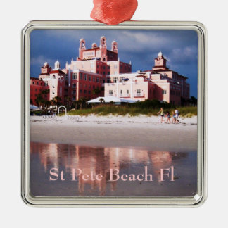 St Pete Beach Castle Silver-Colored Square Decoration