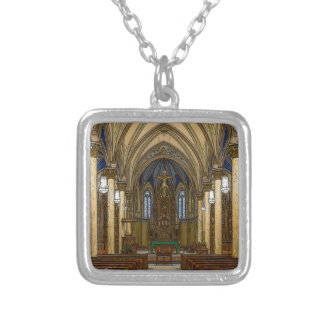 St Peter Catholic Church Painterly Silver Plated Necklace