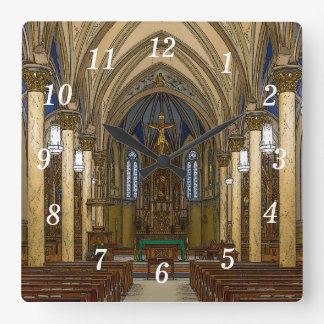 St Peter Catholic Church Painterly Square Wall Clock