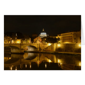 St. Peters Basilica in Vatican City at Night Card