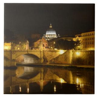 St. Peters Basilica in Vatican City at Night Ceramic Tile