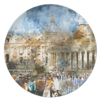 St. Peters Basilica Vatican in Rome Italy Plate