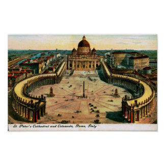 St. Peter's Cathedral, Rome, Italy Vintage Poster