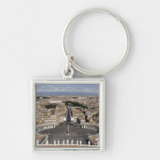 St Peters Square, Rome Silver-Colored Square Key Ring