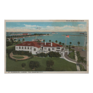 St. Petersburg, FL - Aerial of Yacht Club & Poster