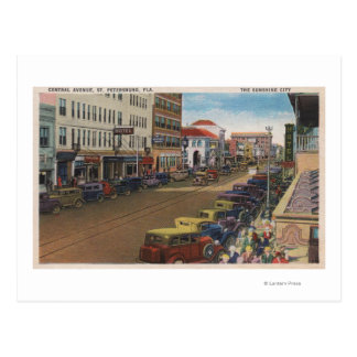 St. Petersburg, FL - View of Central Ave w/ Postcard