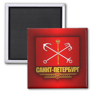 St Petersburg Flag Square Magnet