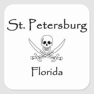 St. Petersburg Florida Jolly Roger Square Sticker