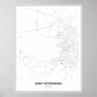 St. Petersburg, Russia Minimalist Map Poster
