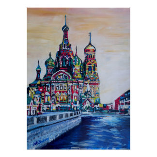 St Petersburg With Church Of The Saviour On Blood Poster