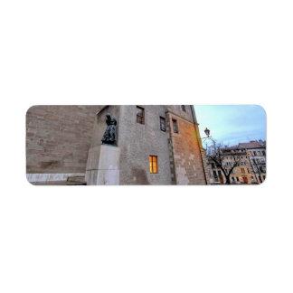 St-Pierre Cathedral in Geneva Switzerland Return Address Label