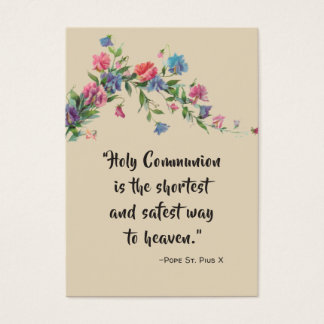 St. Pius X Communion Quote Roses Holy Card