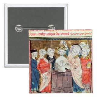 St. Remigius, Bishop of Rheims  baptising 15 Cm Square Badge